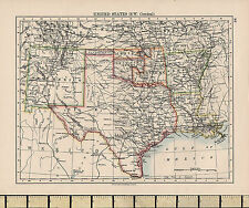 1892 VICTORIAN MAP ~ UNITED STATES SOUTH WEST CENTRAL TEXAS NEW MEXICO ARKANSAS