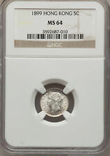 1899 Hong Kong 5 cent- NGC MS 64-Brilliant