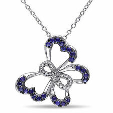 Sterling Silver Blue Sapphire Diamond Butterfly Infinity Pendant Necklace 18""