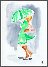 G.Schmidt Acquerello Stampa 20x30 Donna Moda con Schermo Disegno Pittura Arte