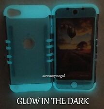 For iPod Touch 5th / 6th Gen - Gray GLOW IN THE DARK Hybrid Armor Impact Case