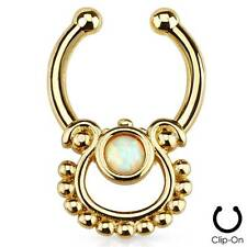 Clip On Fake Septum Clicker Non Piercing Gold Plated Nose Ring Hoop Indian Opal
