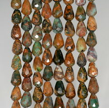 8X6MM AFRICAN GREEN OPAL GEMSTONE  FACETED TEADROP LOOSE BEADS 16""