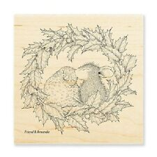 HOUSE MOUSE RUBBER STAMPS WREATH KISS STAMP