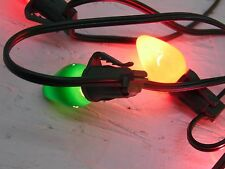 "Christmas tree string lights 15 bulbs vintage plastic clip 15"" long"