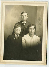 Vintage Matted Photo - Young Man - Jacket, Tie, Pins - Lady and Older Boy