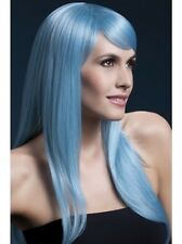 Sienna Wig Pastel Blue Long Feathered New Adult Halloween Cristmas Womens Fever