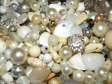 NEW MIXED 6/oz LOOSE BEADS Lot White/Cream Pearls, Crystal, clear (Wh9)