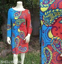 MUSETTE Stretch Jersey PAISLEY Dress S Free Love Vtg Look MOD 60s People SO CUTE