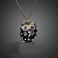 Fashion Crystal Rhinestone Owl Pendant Long Necklace White