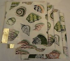 Four Sea Shell Nautical Green Pink Napkins by L.A. Setting 100% Cotton NEW
