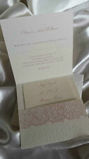 10x PERSONALISED WEDDING POCKETFOLD INVITATIONS VINTAGE PINK LACE HEART IVORY
