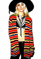 NEW NWT $201 WILDFOX COUTURE MEXICAN BLANKET STRIPE CARDIGAN SWEATER L XL RARE