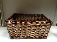 SMALL Woven Wood Wicker storage Organization Toy Laundry Basket Espresso 9x13x7