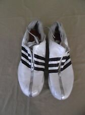 Adidas White Black Silver Track Running Cleats Shoes Sneakers Men's 11.5 5645