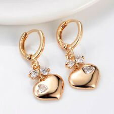 Hot Lady 18k Yellow Gold Filled Heart Earrings Lovely Dangle Wedding Jewelry