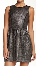 Love Ady Women's Sleeveless Metallic Foil Knit Flare Dress Sz Small $128 I929