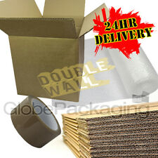 """20 x STRONG X-LARGE DOUBLE WALL Removal Moving Boxes 24x18x18"""" + BUBBLE + TAPE"""