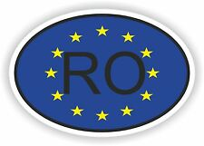 OVAL EUROPEAN UNION FLAG con RO Codice paese Autoadesivo Romania Motocycle auto