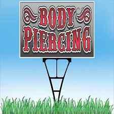 """18""""x24"""" BODY PIERCING Outdoor Yard Sign & Stake Sidewalk Lawn Sales Tattoo Shop"""