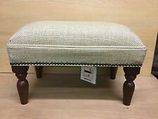 Footstool upholstered in a Laura Ashley fabric Dalton natural t