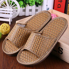 Women/Men Fashion Bamboo Slippers Indoor Slides Woven Sandals Home Shoes Scuffs