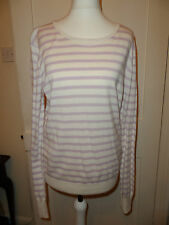 NEW FRENCH CONNECTION PINK & WHITE STRIPE WOOL SILK MIX JUMPER  SIZE UK 12