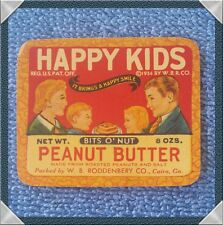 HAPPY KIDS PEANUT BUTTER JAR LABEL 1930'S RODOENBERRY CO.  CAIRO GA