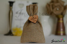 25 x Favour Bag Thank You Wooden Heart Hessian Rustic Wedding Burlap Shabby Chic