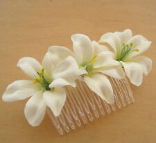 "Triple 2"" Cream White Lily Silk Flower Hair Comb,Wedding,Prom,Luau,Dance"