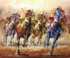 Modern hand-painted Wall Art Oil Painting beautiful Horse racing on Canvas A2017