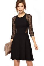 French Connection Vienna Lace Skater Mini Black Dress