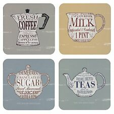 New MARTIN WISCOMBE The Specialist tea coffee milk sugar Coaster Set of 4