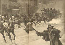 New York, Snow Storm, Clearing The Streets, Horse Drawn Plow, Vintage 1887 Print