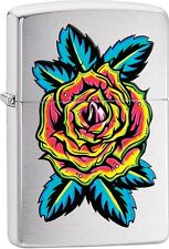 Zippo Rose Flower Tattoo Brushed Chrome WindProof Lighter NEW 29399