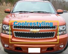 For 07 ~ 14 Chevy Tahoe Suburban Black Wire Mesh Rivet Stud Grille Inserts