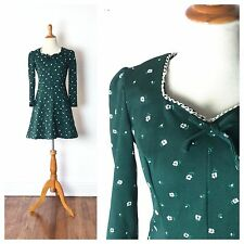 TRUE VINTAGE 1960s Dress 60s 1970s 70s mini green boho hippie costume small xs