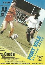 Football Programme - Port Vale v Newcastle Utd - Div 2 - 1990
