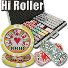 1000 Piece High Roller 14 Gram Clay Poker Chip Set with Aluminum Case (Custom)