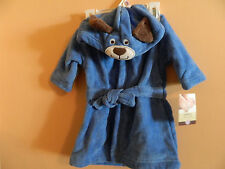 NWT Carters little layette boys blue hooded bath robe w/dog faced hood size 0-9m