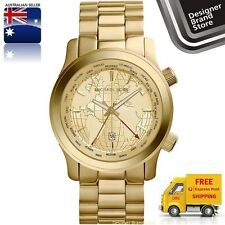 NEW MICHAEL KORS WATCH RUNWAY COLLECTORS SPL ED GMT GOLD WORLD MAP DIAL MK5960