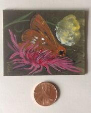 Original Miniature Painting, Brown Moth or Butterfly, Collectible Art