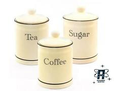 VINTAGE RETRO STYLED CREAM & BLACK LINE SET OF 3 TEA COFFEE SUGAR CANISTERS POTS