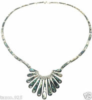 TAXCO MEXICAN 950 SILVER ABALONE NECKLACE MEXICO