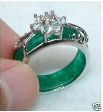 Beautiful Tibet Silver Carved Green Jade Ring 8# AAAA