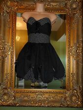 Ladies Hell bunny 50's rockabilly pin up black white summer dress size S 8 10 12