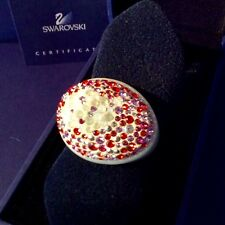 GENUINE SWAROVSKI® SIGNED CRYSTAL PONTIAGE ACRYLIC GLASS RING~ OPALINE RED T-55