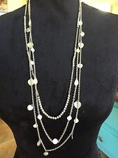 Multi Strand Grey Pearl, Silver Disc, Hearts Necklace