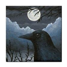 Large Ceramic Tile Coaster 6x6 inches Made in USA Bird 58 Crow Raven Art L.Dumas