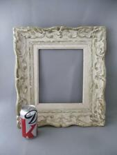 """ANTIQUE SHABBY VTG CHIC WHITE WASH CARVED WOOD PICTURE FRAME 8"""" X 10"""""""
